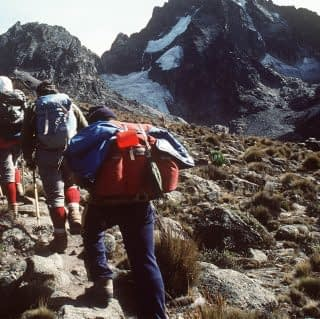 Guests hiking at Mount Kenya