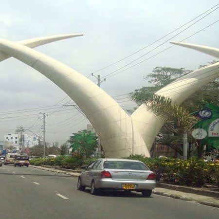 Elephant tusks at moi avenue street in Mombasa