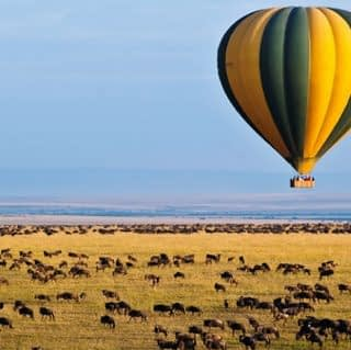 Hot-Air balloon floating on top of Maasai Mara